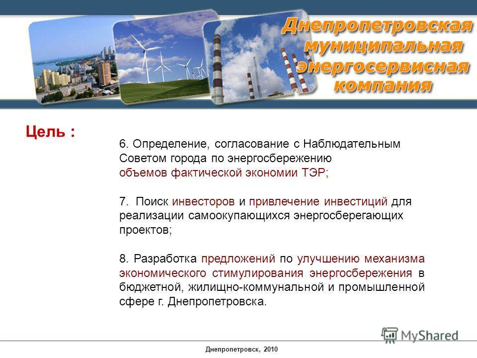 6. Определение, согласование с Наблюдательным Советом города по энергосбережению объемов фактической экономии ТЭР; 7. Поиск инвесторов и привлечение инвестиций для реализации самоокупающихся энергосберегающих проектов; 8. Разработка предложений по ул