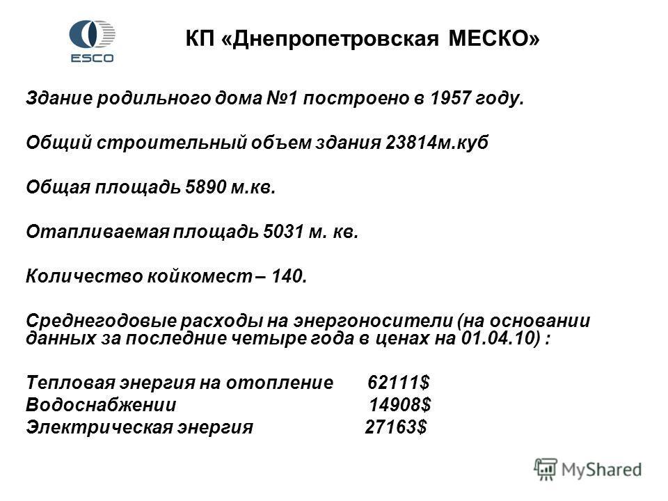 КП «Днепропетровская МЕСКО» Здание родильного дома 1 построено в 1957 году. Общий строительный объем здания 23814м.куб Общая площадь 5890 м.кв. Отапливаемая площадь 5031 м. кв. Количество койкомест – 140. Среднегодовые расходы на энергоносители (на о