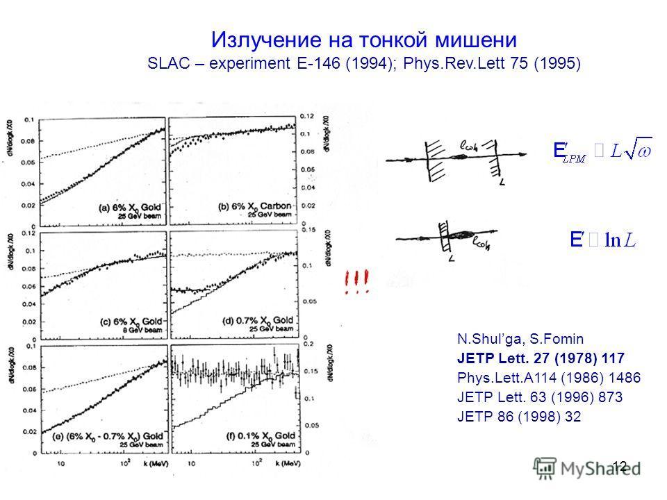 12 Излучение на тонкой мишени SLAC – experiment E-146 (1994); Phys.Rev.Lett 75 (1995) N.Shulga, S.Fomin JETP Lett. 27 (1978) 117 Phys.Lett.A114 (1986) 1486 JETP Lett. 63 (1996) 873 JETP 86 (1998) 32