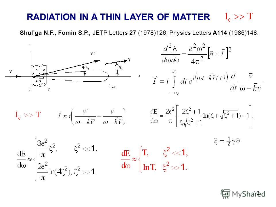 13 RADIATION IN A THIN LAYER OF MATTER Shulga N.F., Fomin S.P., JETP Letters 27 (1978)126; Physics Letters A114 (1986)148. ;
