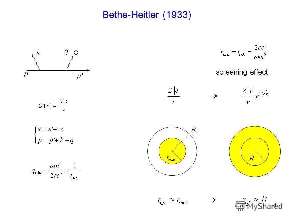 4 Bethe-Heitler (1933) screening effect