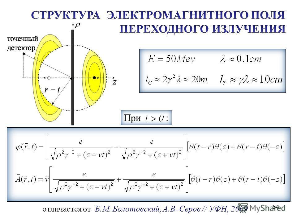54 отличается от Б.М. Болотовский, А.В. Серов // УФН, 2009 z При :