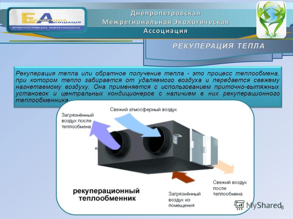 Рекуперация тепла или обратное получение тепла - это процесс теплообмена, при котором тепло забирается от удаляемого воздуха и передается свежему нагнетаемому воздуху. Она применяется с использованием приточно-вытяжных установок и центральных кондици