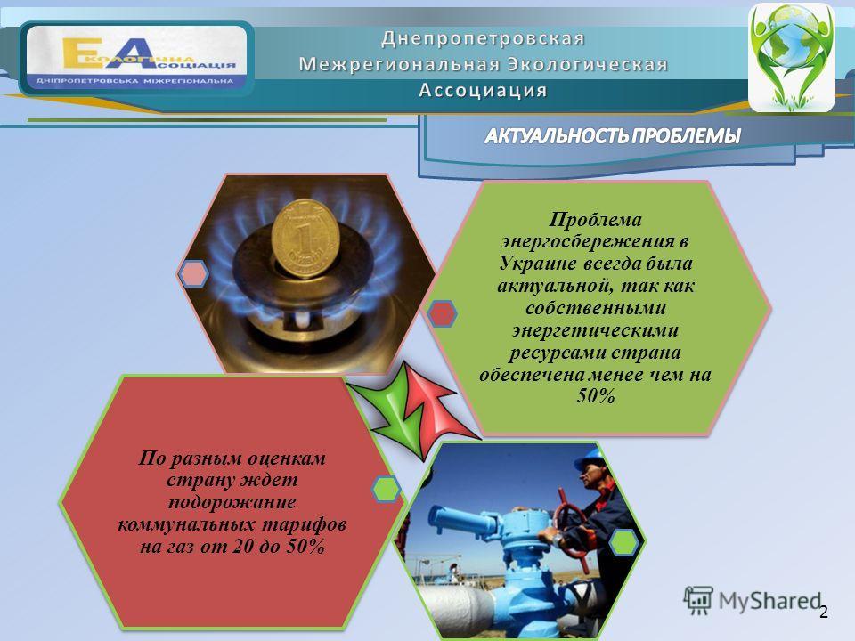 По разным оценкам страну ждет подорожание коммунальных тарифов на газ от 20 до 50% Проблема энергосбережения в Украине всегда была актуальной, так как собственными энергетическими ресурсами страна обеспечена менее чем на 50% 2