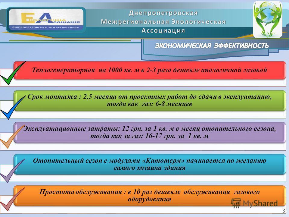 Теплогенераторная на 1000 кв. м в 2-3 раза дешевле аналогичной газовой Срок монтажа : 2,5 месяца от проектных работ до сдачи в эксплуатацию, тогда как газ: 6-8 месяцев Эксплуатационные затраты: 12 грн. за 1 кв. м в месяц отопительного сезона, тогда к