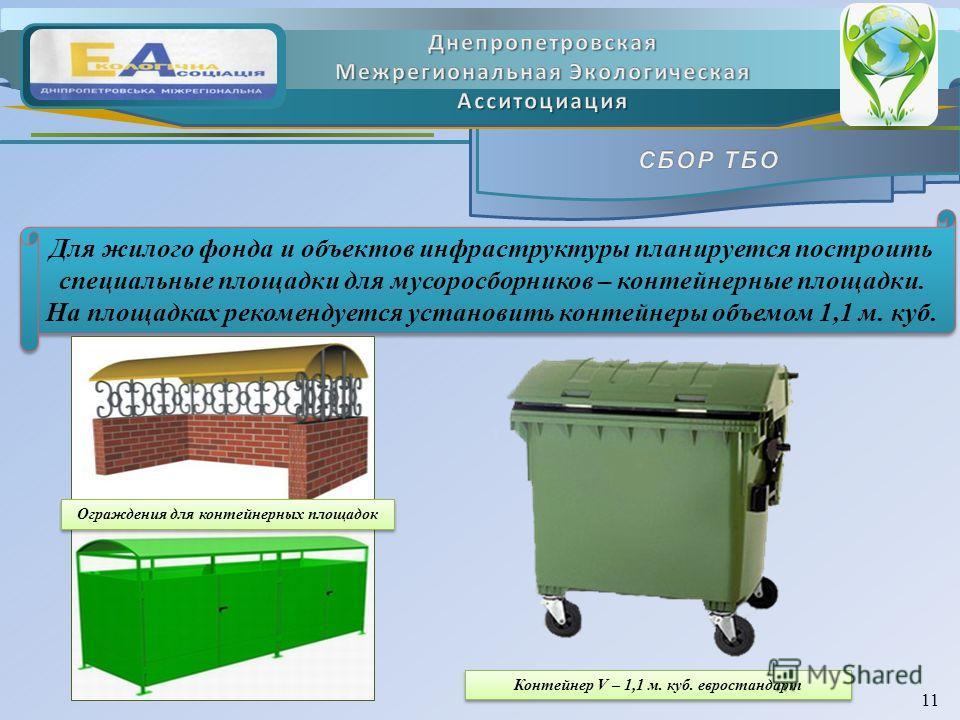 Для жилого фонда и объектов инфраструктуры планируется построить специальные площадки для мусоросборников – контейнерные площадки. На площадках рекомендуется установить контейнеры объемом 1,1 м. куб. Для жилого фонда и объектов инфраструктуры планиру
