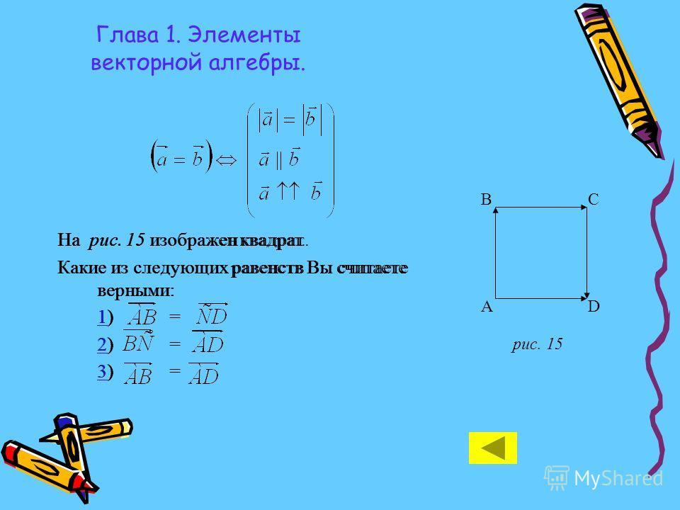 Глава 1. Элементы векторной алгебры. На рис. 15 изображен квадрат. Какие из следующих равенств Вы считаете верными: 11) = 22) = 33) = А BC D рис. 15 На рис. 15 изображен квадрат. Какие из следующих равенств Вы считаете верными: 11) = 22) = 33) =