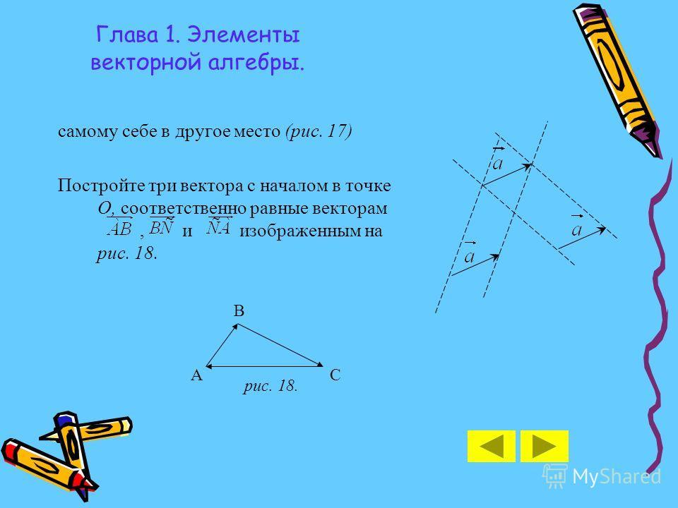 Глава 1. Элементы векторной алгебры. самому себе в другое место (рис. 17) Постройте три вектора с началом в точке О, соответственно равные векторам, и изображенным на рис. 18. рис. 18. А B C
