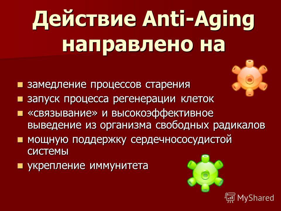 Действие Anti-Aging направлено на замедление процессов старения замедление процессов старения запуск процесса регенерации клеток запуск процесса регенерации клеток «связывание» и высокоэффективное выведение из организма свободных радикалов «связывани
