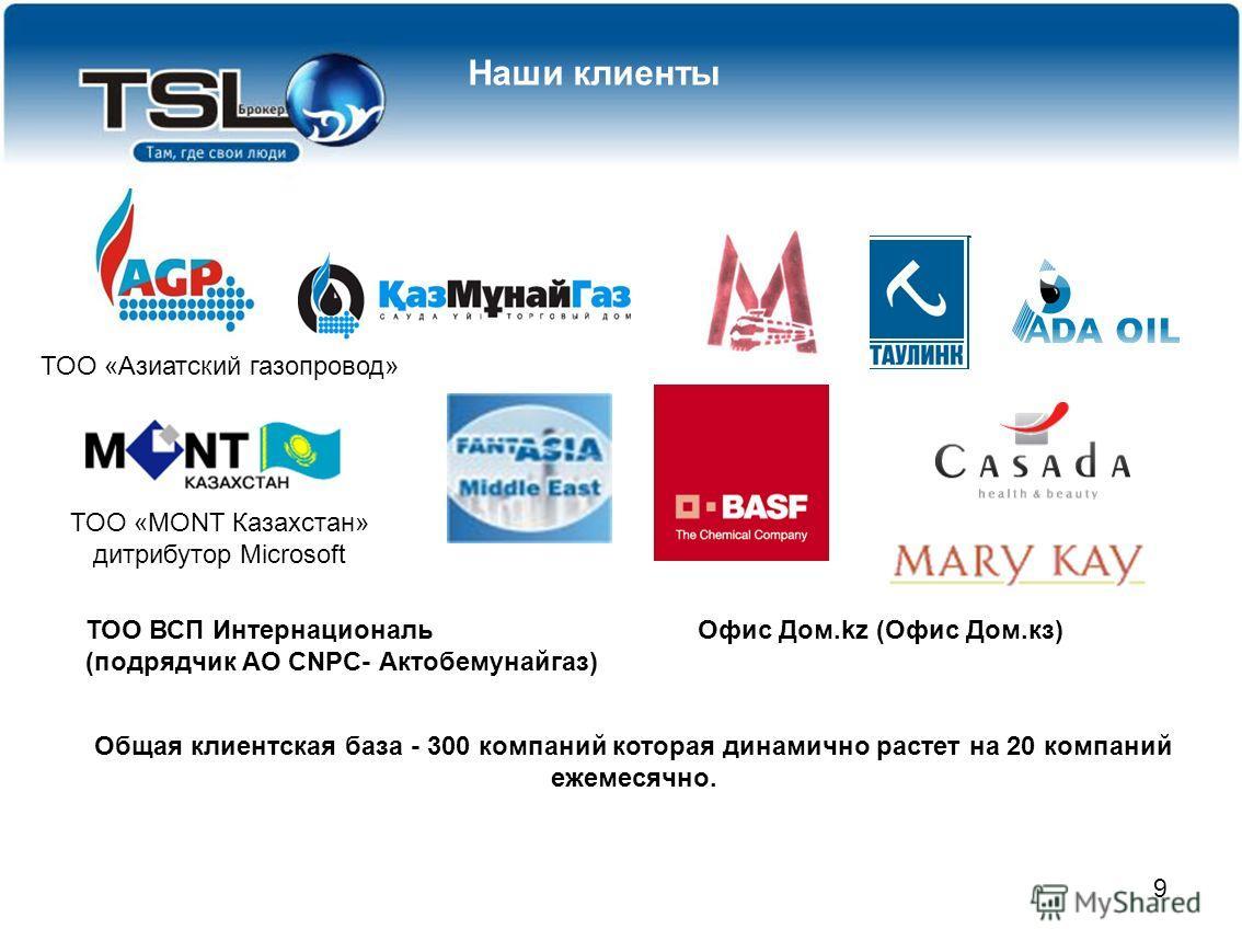9 Клиенты которые доверили нам свои грузы: ТОО «Азиатский газопровод» ТОО «MONT Казахстан» дитрибутор Microsoft Общая клиентская база - 300 компаний которая динамично растет на 20 компаний ежемесячно. Наши клиенты ТОО ВСП Интернациональ (подрядчик АО