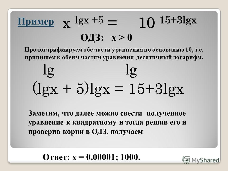 Пример x lgx +5 = 10 15+3lgx ОДЗ: x > 0 Прологарифмируем обе части уравнения по основанию 10, т.е. припишем к обеим частям уравнения десятичный логарифм. x lgx +5 =10 15+3lgx lg (lgx + 5)lgx = 15+3lgx Заметим, что далее можно свести полученное уравне