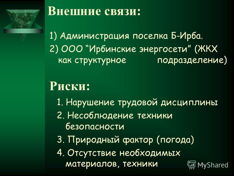 Риски: 1. Нарушение трудовой дисциплины 2. Несоблюдение техники безопасности 3. Природный фактор (погода) 4. Отсутствие необходимых материалов, техники Внешние связи: 1) Администрация поселка Б-Ирба. 2) ООО Ирбинские энергосети (ЖКХ как структурное п