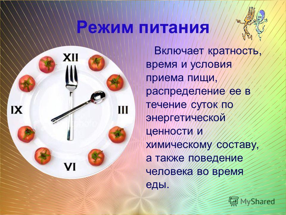 Режим питания Включает кратность, время и условия приема пищи, распределение ее в течение суток по энергетической ценности и химическому составу, а также поведение человека во время еды.