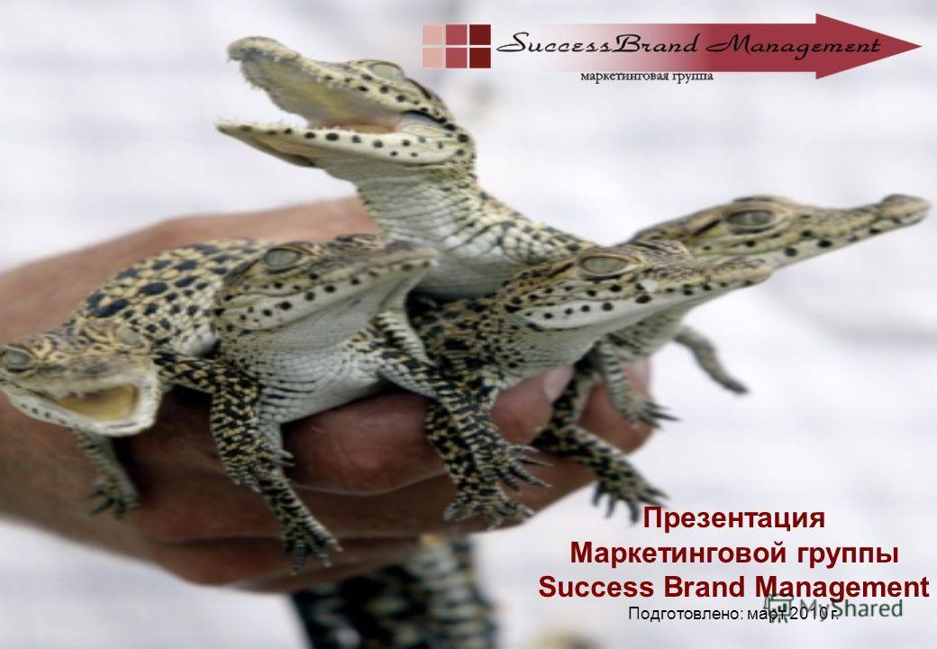 Презентация Маркетинговой группы Success Brand Management Подготовлено: март 2010 г.