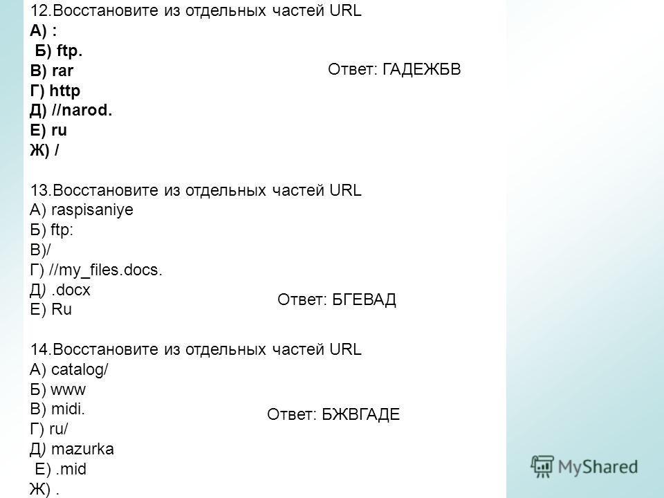 12.Восстановите из отдельных частей URL A) : Б) ftp. B) rar Г) http Д) //narod. Е) ru Ж) / 13.Восстановите из отдельных частей URL A) raspisaniye Б) ftp: B)/ Г) //my_files.docs. Д).docx E) Ru 14.Восстановите из отдельных частей URL A) catalog/ Б) www