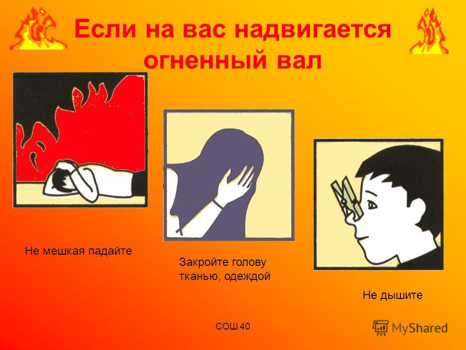 СОШ 40 Если на вас надвигается огненный вал Не мешкая падайте Закройте голову тканью, одеждой Не дышите