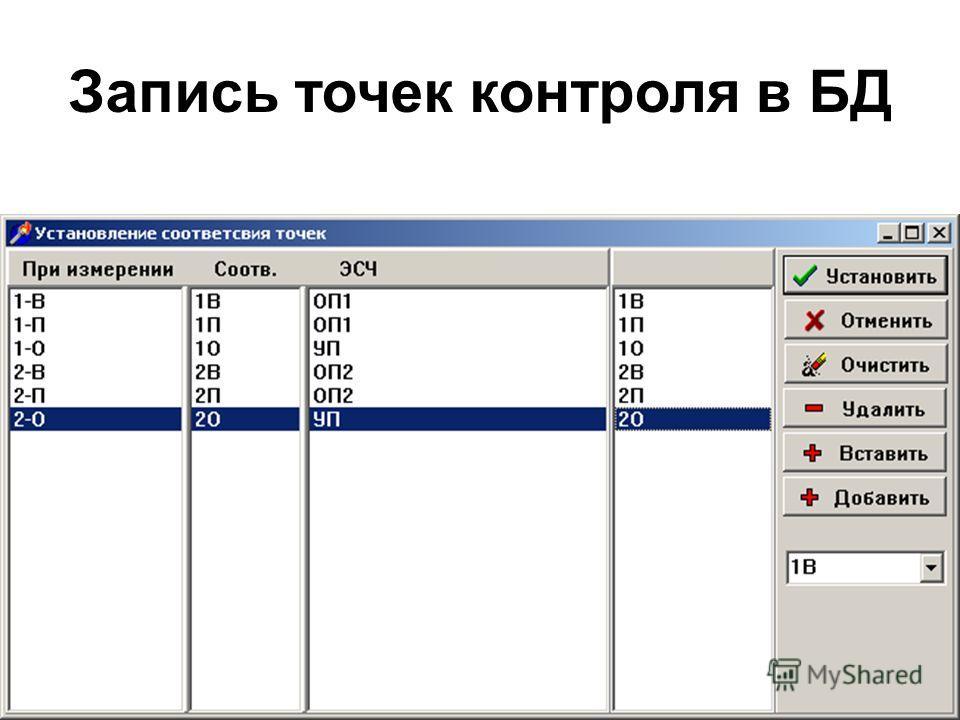 Запись точек контроля в БД