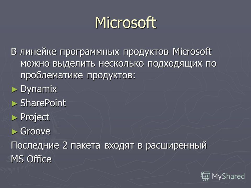 Microsoft В линейке программных продуктов Microsoft можно выделить несколько подходящих по проблематике продуктов: Dynamix Dynamix SharePoint SharePoint Project Project Groove Groove Последние 2 пакета входят в расширенный MS Office