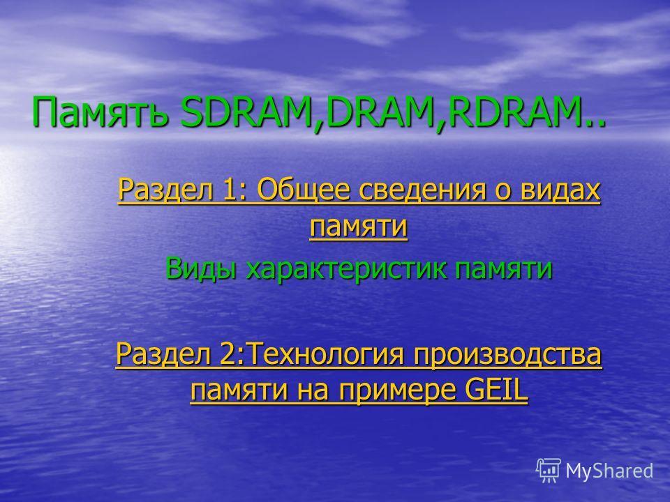 Память SDRAM,DRAM,RDRAM.. Раздел 1: Общее сведения о видах памяти Раздел 1: Общее сведения о видах памяти Виды характеристик памяти Раздел 2:Технология производства памяти на примере GEIL Раздел 2:Технология производства памяти на примере GEIL