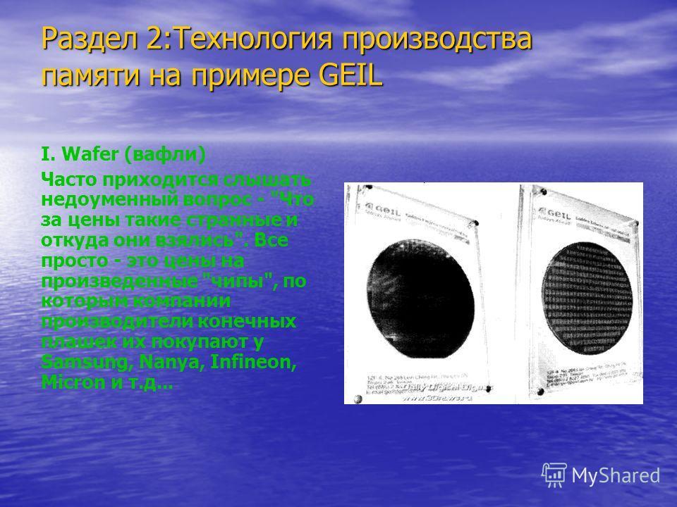 Раздел 2:Технология производства памяти на примере GEIL I. Wafer (вафли) Часто приходится слышать недоуменный вопрос -