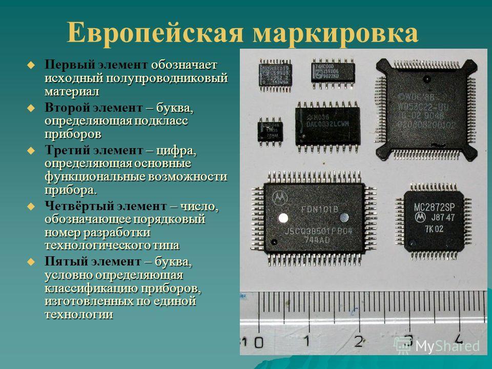Европейская маркировка обозначает исходный полупроводниковый материал Первый элемент обозначает исходный полупроводниковый материал – буква, определяющая подкласс приборов Второй элемент – буква, определяющая подкласс приборов – цифра, определяющая о