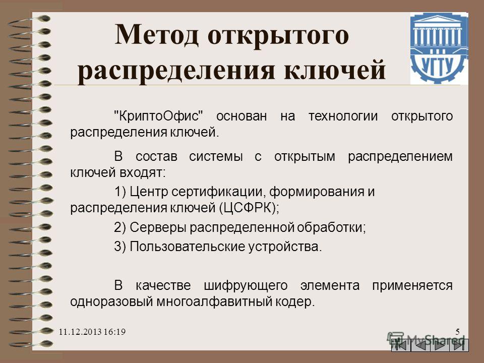 11.12.2013 16:205 Метод открытого распределения ключей