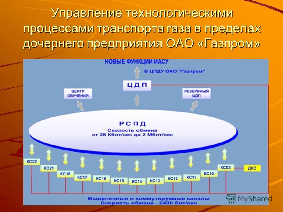 Управление технологическими процессами транспорта газа в пределах дочернего предприятия ОАО «Газпром»