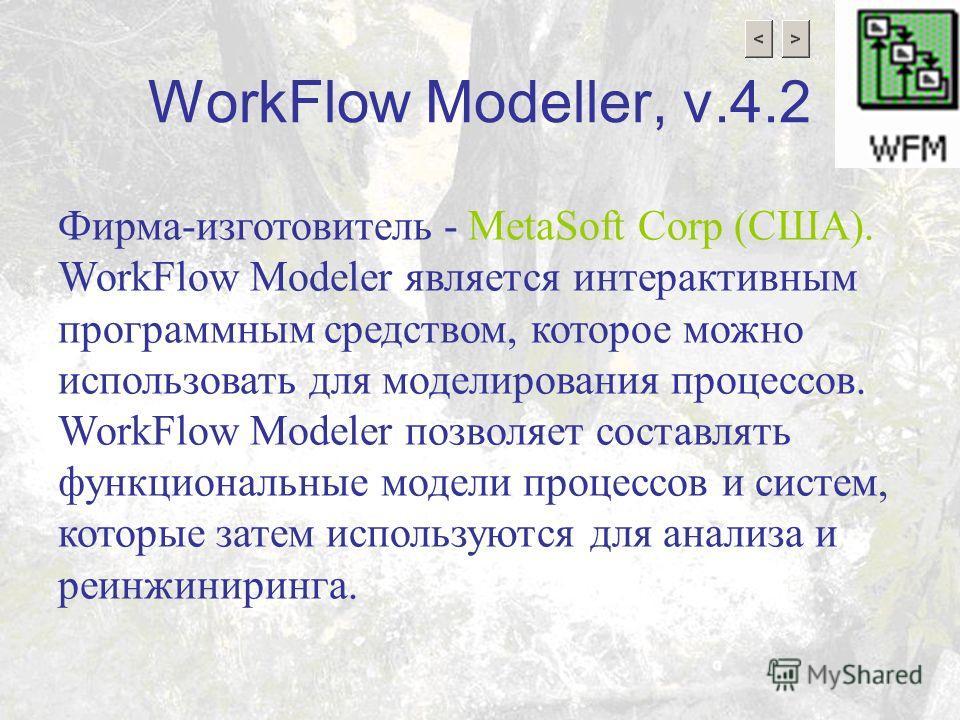 WorkFlow Modeller, v.4.2 Фирма-изготовитель - MetaSoft Corp (США). WorkFlow Modeler является интерактивным программным средством, которое можно использовать для моделирования процессов. WorkFlow Modeler позволяет составлять функциональные модели проц