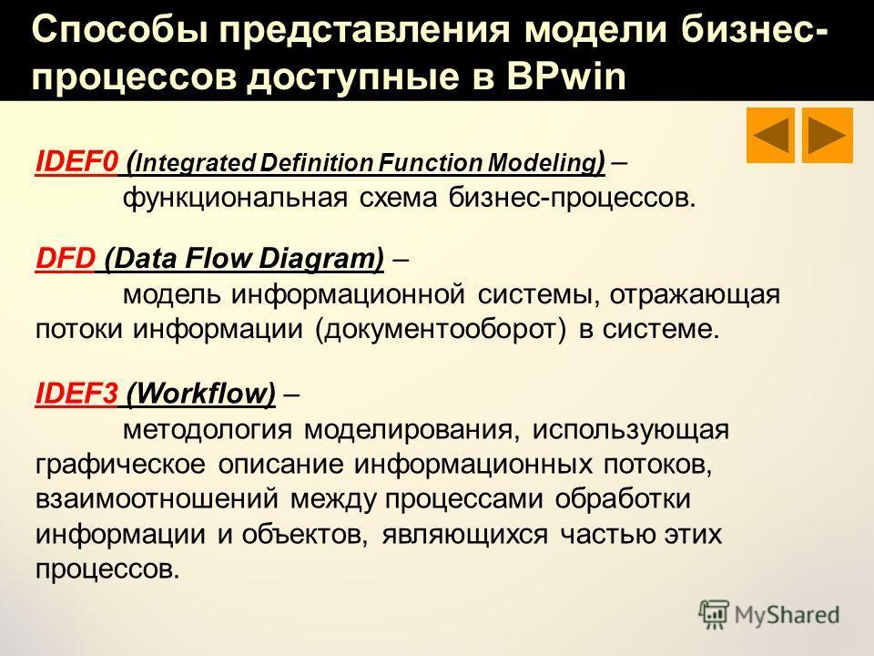 Способы представления модели бизнес- процессов доступные в BPwin DFD (Data Flow Diagram) – модель информационной системы, отражающая потоки информации (документооборот) в системе. IDEF3 (Workflow) – методология моделирования, использующая графическое