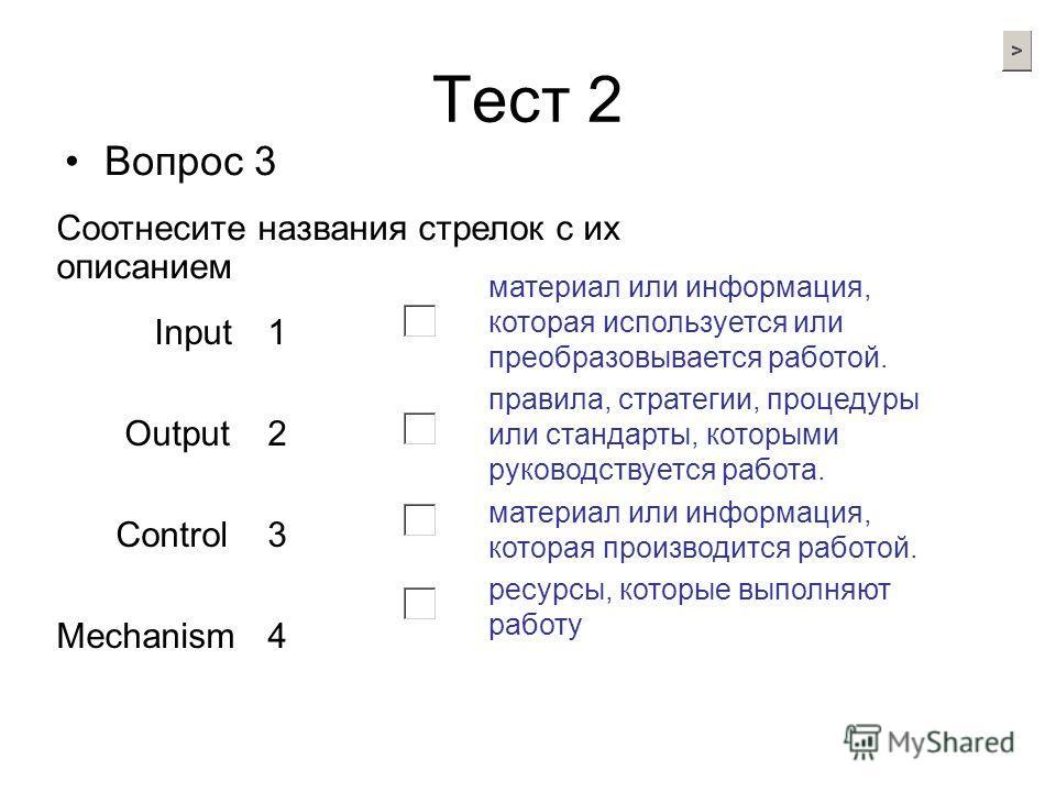 Тест 2 Вопрос 3 Input1 Output2 Control3 Mechanism4 Соотнесите названия стрелок с их описанием материал или информация, которая используется или преобразовывается работой. правила, стратегии, процедуры или стандарты, которыми руководствуется работа. м