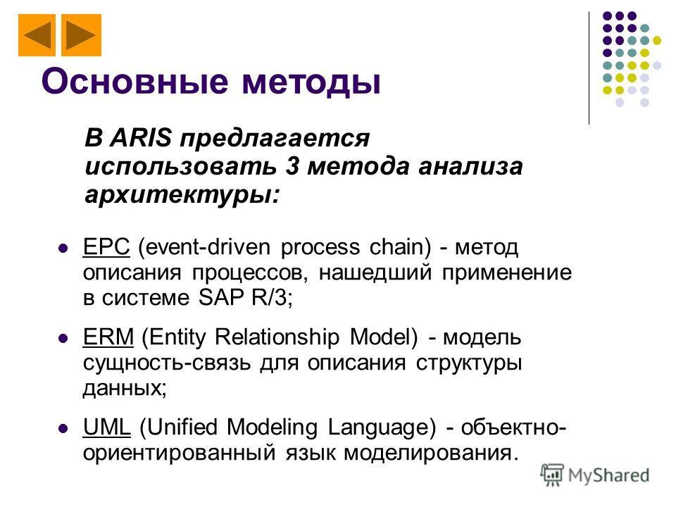 Основные методы EPC (event-driven process chain) - метод описания процессов, нашедший применение в системе SAP R/3; ERM (Entity Relationship Model) - модель сущность-связь для описания структуры данных; UML (Unified Modeling Language) - объектно- ори