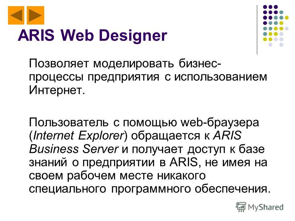 ARIS Web Designer Позволяет моделировать бизнес- процессы предприятия c использованием Интернет. Пользователь с помощью web-браузера (Internet Explorer) обращается к ARIS Business Server и получает доступ к базе знаний о предприятии в ARIS, не имея н