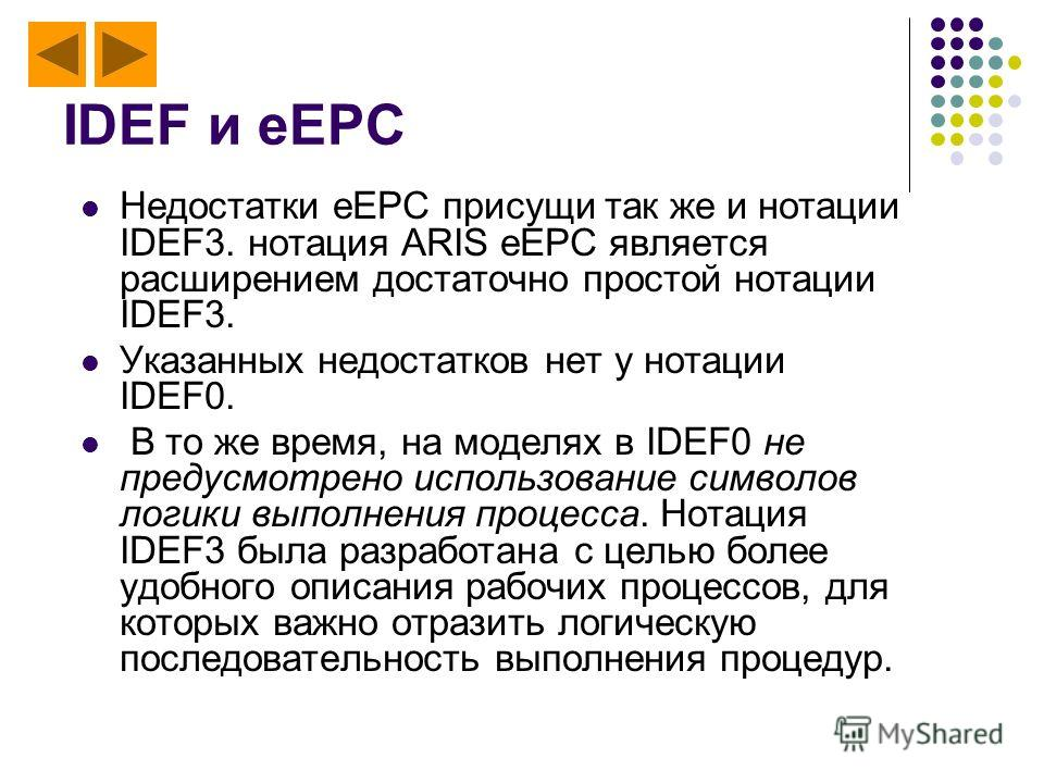IDEF и eEPC Недостатки eEPC присущи так же и нотации IDEF3. нотация ARIS eEPC является расширением достаточно простой нотации IDEF3. Указанных недостатков нет у нотации IDEF0. В то же время, на моделях в IDEF0 не предусмотрено использование символов
