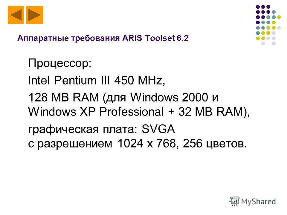 Аппаратные требования ARIS Toolset 6.2 Процессор: Intel Pentium III 450 MHz, 128 MB RAM (для Windows 2000 и Windows XP Professional + 32 MB RAM), графическая плата: SVGA с разрешением 1024 x 768, 256 цветов.