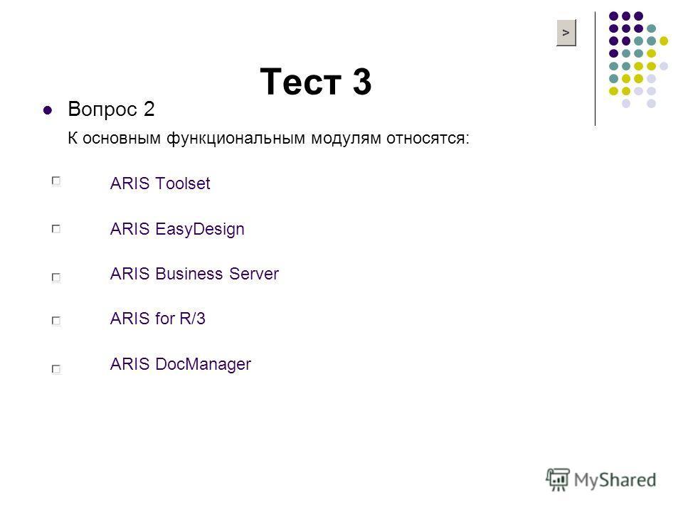 Тест 3 Вопрос 2 К основным функциональным модулям относятся: ARIS Toolset ARIS EasyDesign ARIS Business Server ARIS for R/3 ARIS DocManager