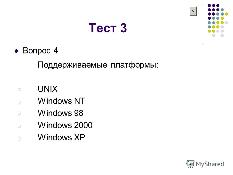 Тест 3 Вопрос 4 Поддерживаемые платформы: UNIX Windows NT Windows 98 Windows 2000 Windows XP