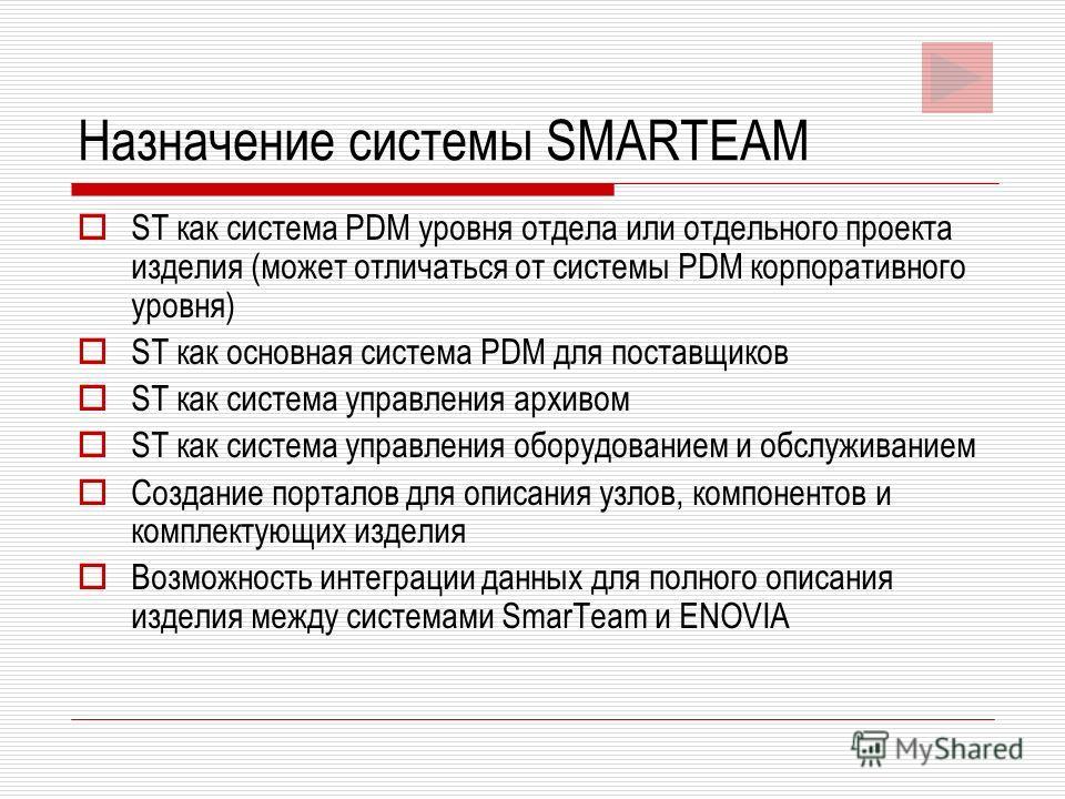 Назначение системы SMARTEAM ST как система PDM уровня отдела или отдельного проекта изделия (может отличаться от системы PDM корпоративного уровня) ST как основная система PDM для поставщиков ST как система управления архивом ST как система управлени