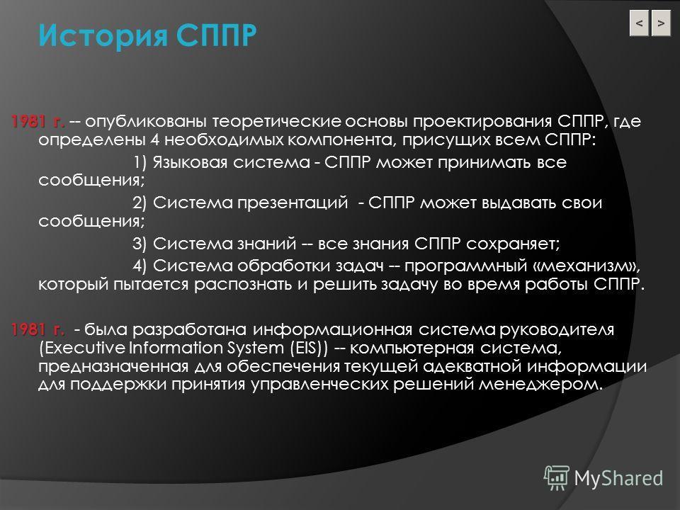 История СППР 1981 г. 1981 г. -- опубликованы теоретические основы проектирования СППР, где определены 4 необходимых компонента, присущих всем СППР: 1) Языковая система - СППР может принимать все сообщения; 2) Система презентаций - СППР может выдавать