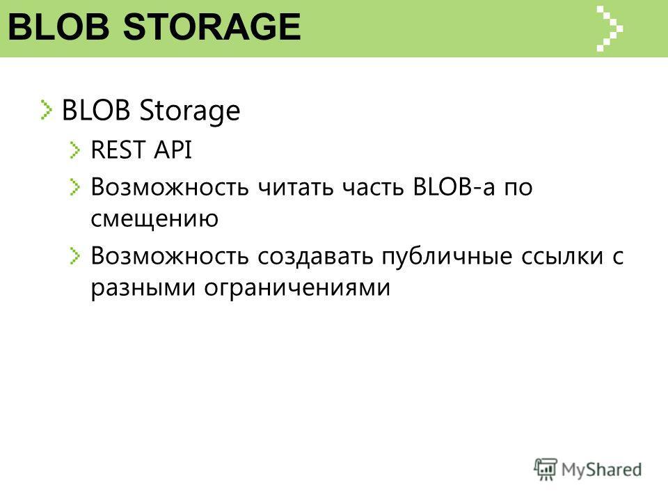 BLOB STORAGE BLOB Storage REST API Возможность читать часть BLOB-а по смещению Возможность создавать публичные ссылки с разными ограничениями