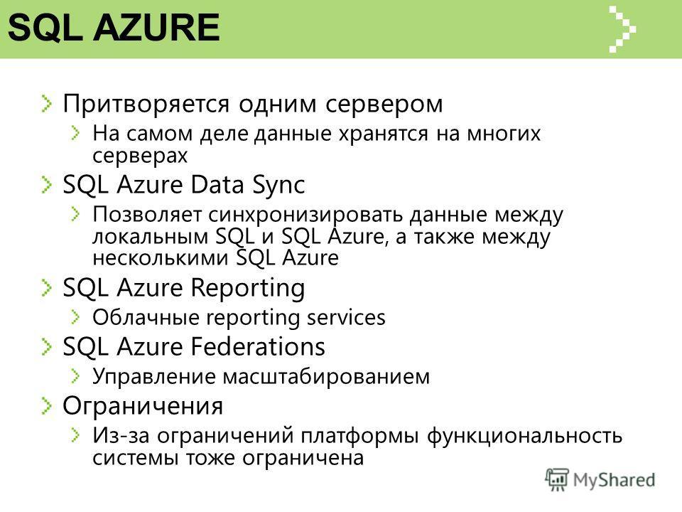 SQL AZURE Притворяется одним сервером На самом деле данные хранятся на многих серверах SQL Azure Data Sync Позволяет синхронизировать данные между локальным SQL и SQL Azure, а также между несколькими SQL Azure SQL Azure Reporting Облачные reporting s