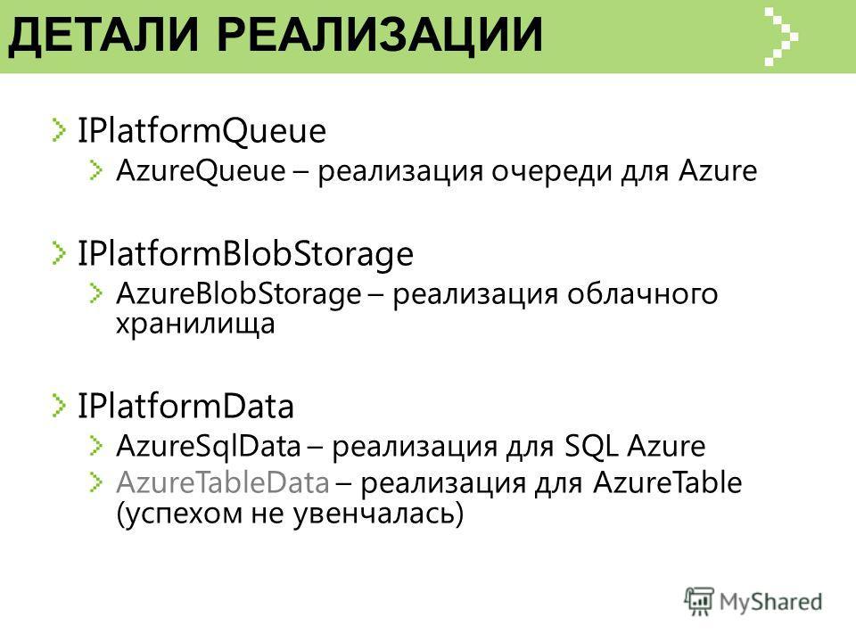 ДЕТАЛИ РЕАЛИЗАЦИИ IPlatformQueue AzureQueue – реализация очереди для Azure IPlatformBlobStorage AzureBlobStorage – реализация облачного хранилища IPlatformData AzureSqlData – реализация для SQL Azure AzureTableData – реализация для AzureTable (успехо