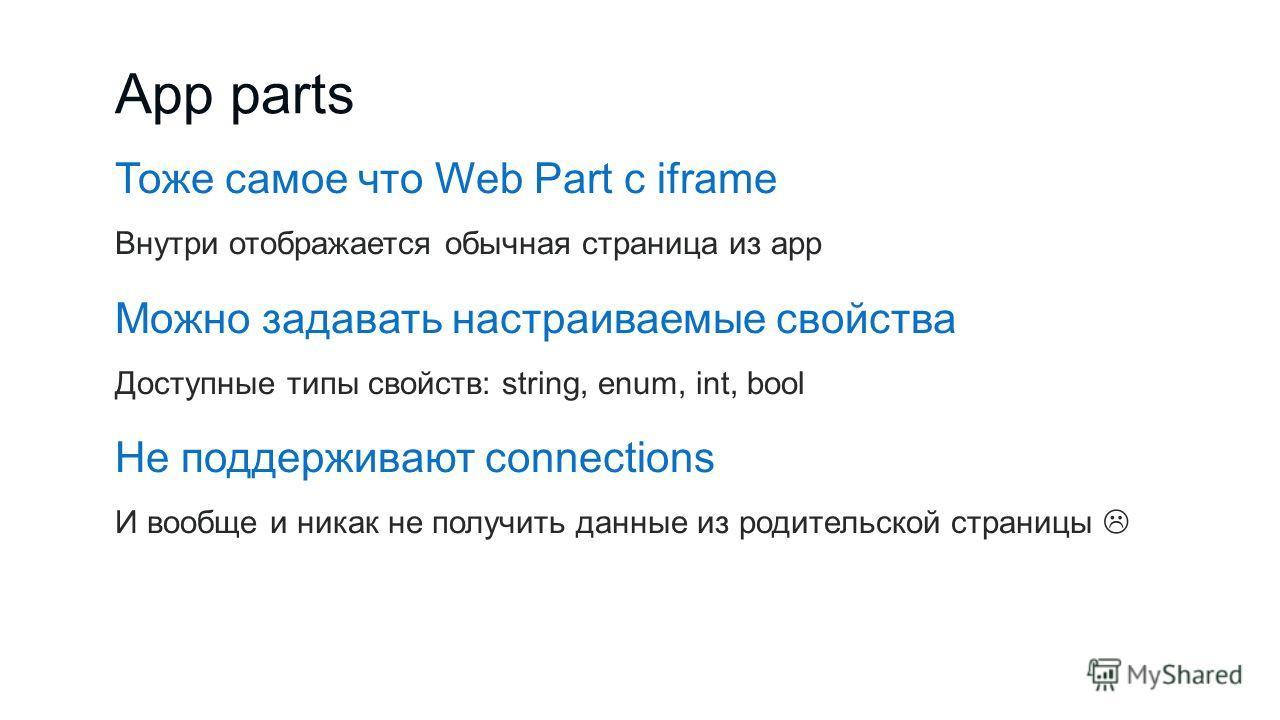 App parts Тоже самое что Web Part с iframe Внутри отображается обычная страница из app Можно задавать настраиваемые свойства Доступные типы свойств: string, enum, int, bool Не поддерживают connections И вообще и никак не получить данные из родительск
