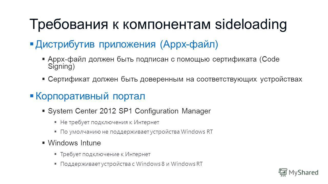 Требования к компонентам sideloading Дистрибутив приложения (Appx-файл) Appx-файл должен быть подписан с помощью сертификата (Code Signing) Сертификат должен быть доверенным на соответствующих устройствах Корпоративный портал System Center 2012 SP1 C