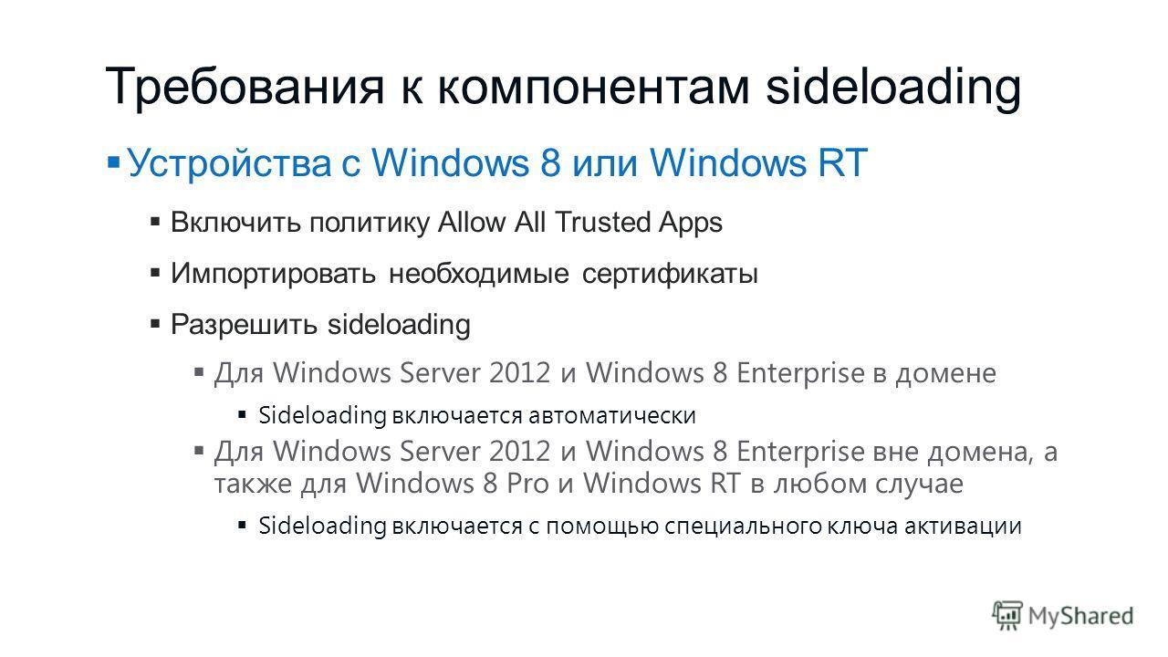 Требования к компонентам sideloading Устройства с Windows 8 или Windows RT Включить политику Allow All Trusted Apps Импортировать необходимые сертификаты Разрешить sideloading Для Windows Server 2012 и Windows 8 Enterprise в домене Sideloading включа