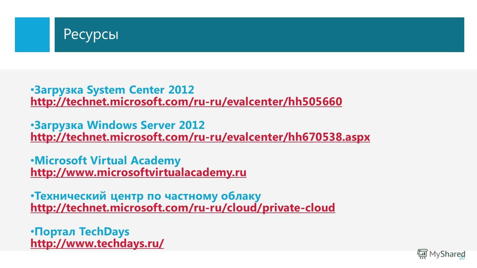 Ресурсы 20 Загрузка System Center 2012 http://technet.microsoft.com/ru-ru/evalcenter/hh505660 Загрузка Windows Server 2012 http://technet.microsoft.com/ru-ru/evalcenter/hh670538.aspx Microsoft Virtual Academy http://www.microsoftvirtualacademy.ru Тех