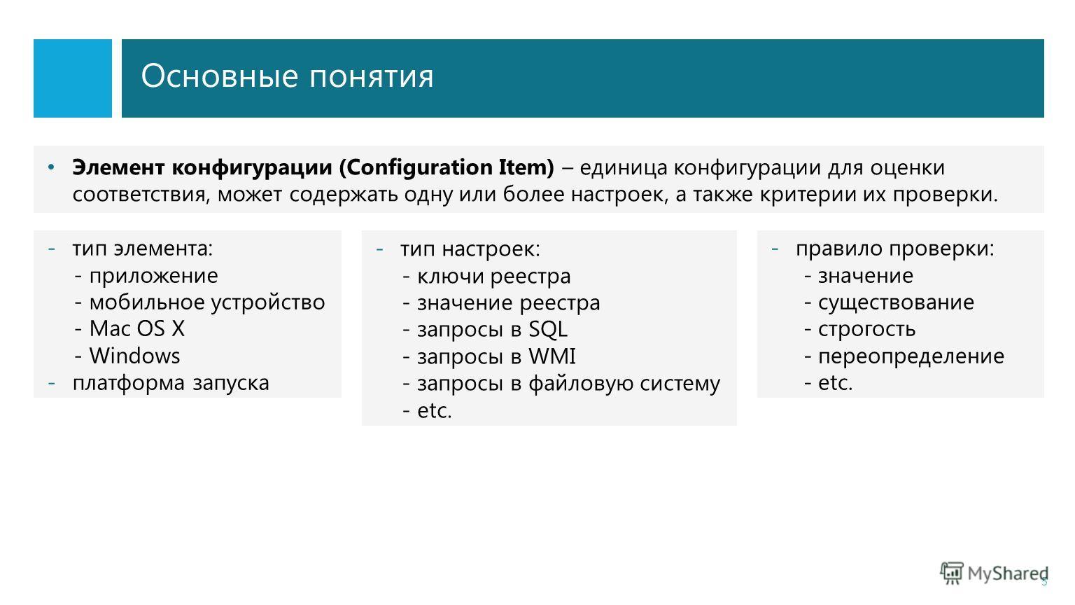 Основные понятия 5 Элемент конфигурации (Configuration Item) – единица конфигурации для оценки соответствия, может содержать одну или более настроек, а также критерии их проверки. -тип элемента: - приложение - мобильное устройство - Mac OS X - Window