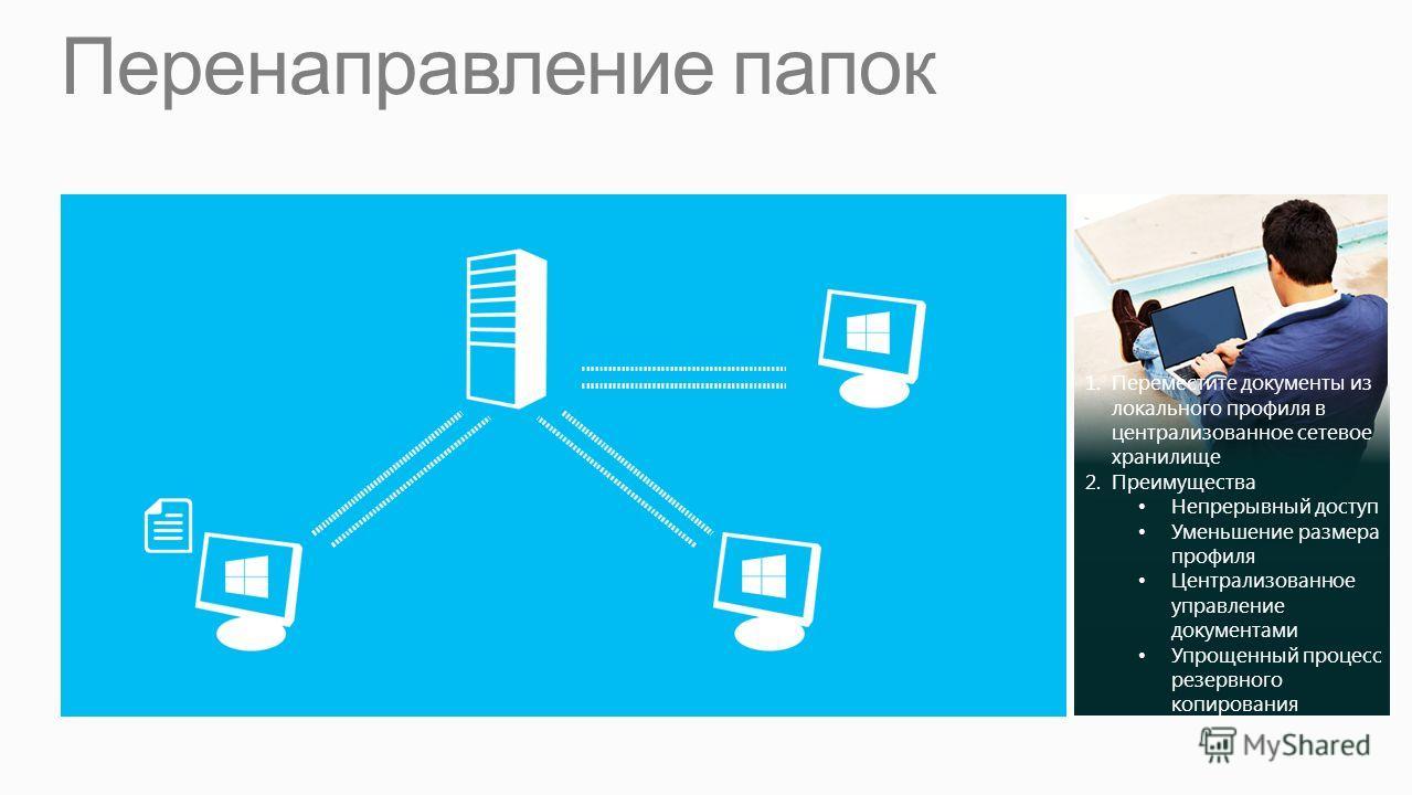Перенаправление папок 1.Переместите документы из локального профиля в централизованное сетевое хранилище 2.Преимущества Непрерывный доступ Уменьшение размера профиля Централизованное управление документами Упрощенный процесс резервного копирования