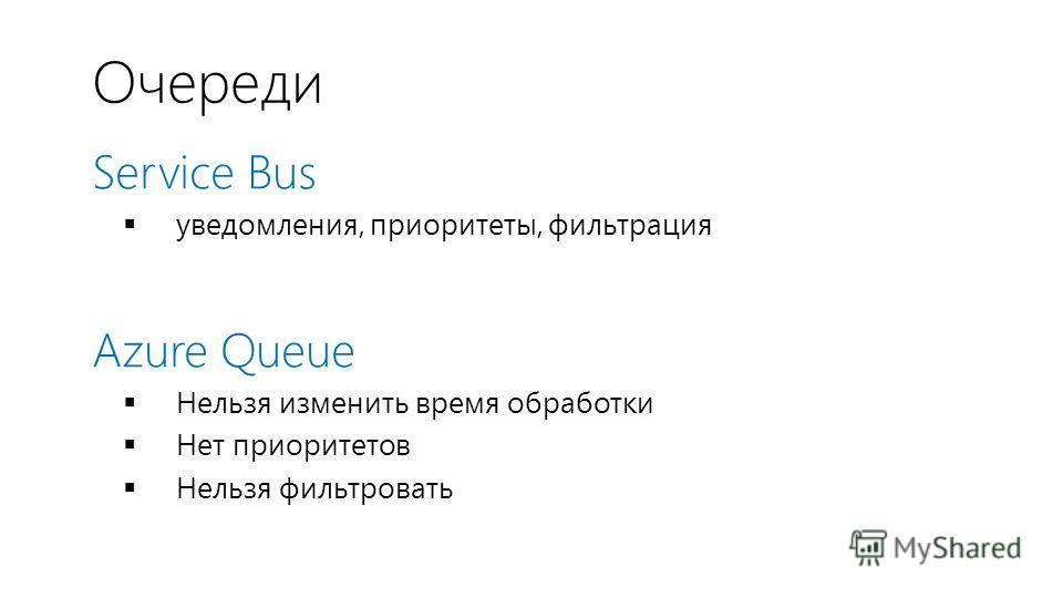Очереди Service Bus уведомления, приоритеты, фильтрация Azure Queue Нельзя изменить время обработки Нет приоритетов Нельзя фильтровать
