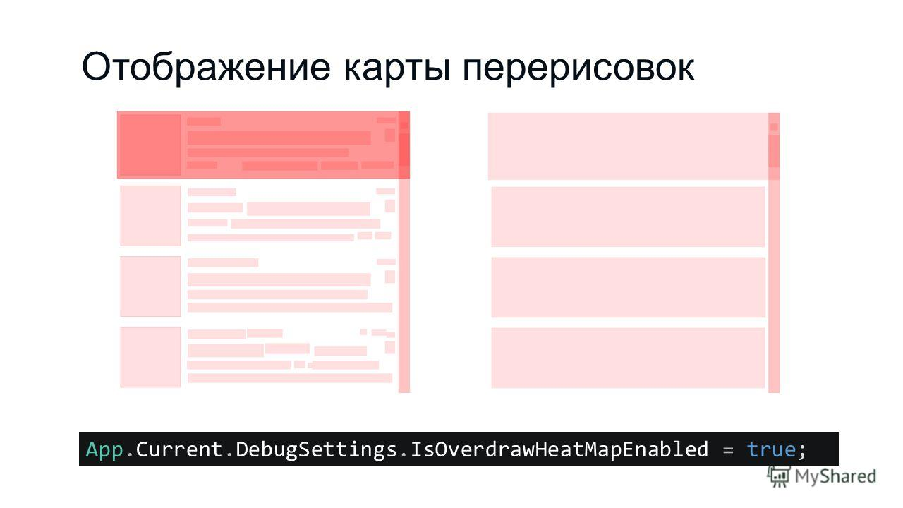 Отображение карты перерисовок App.Current.DebugSettings.IsOverdrawHeatMapEnabled = true;