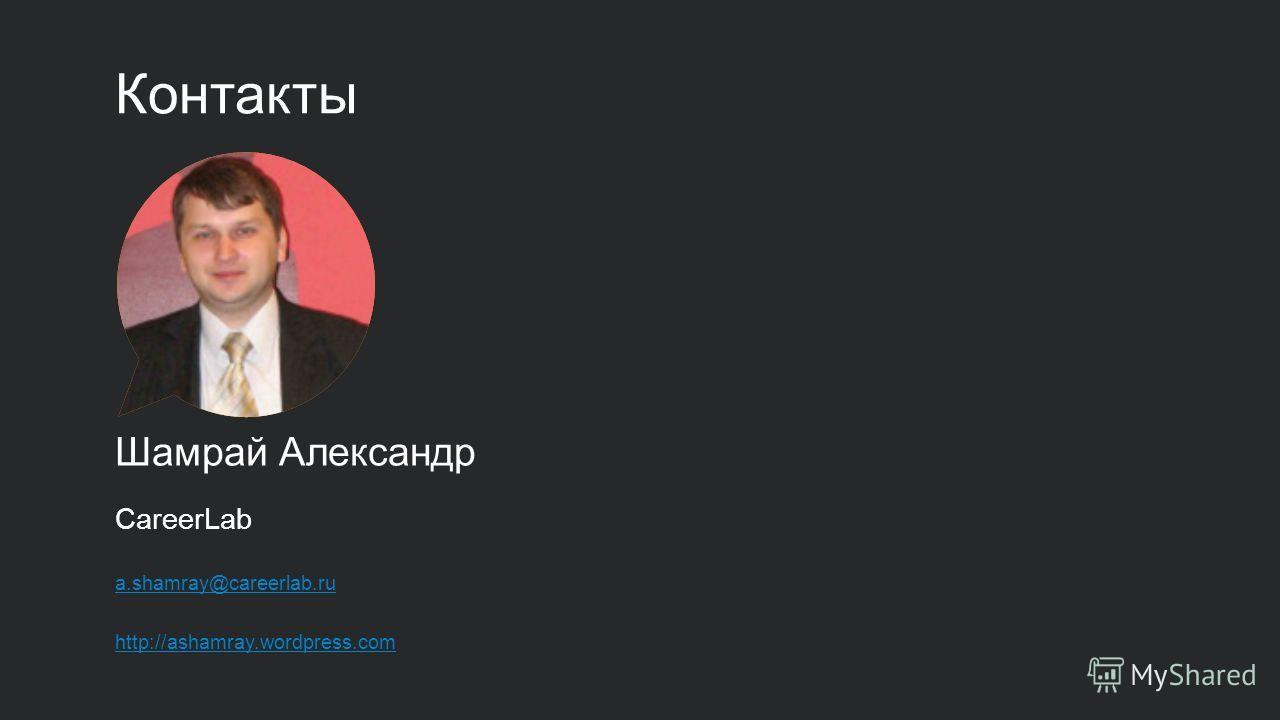 Контакты Шамрай Александр CareerLab a.shamray@careerlab.ru http://ashamray.wordpress.com